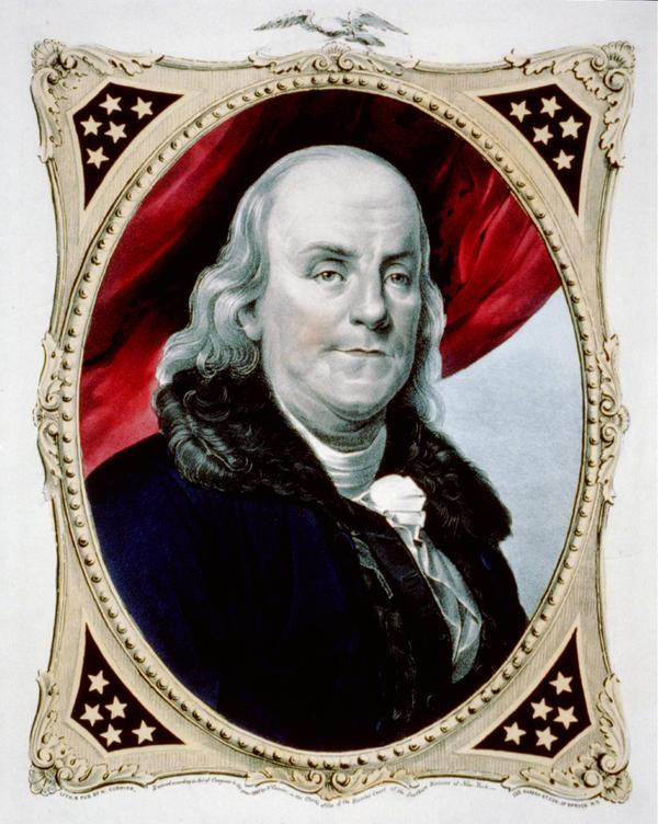 Benjamin Franklin, circa 1847.