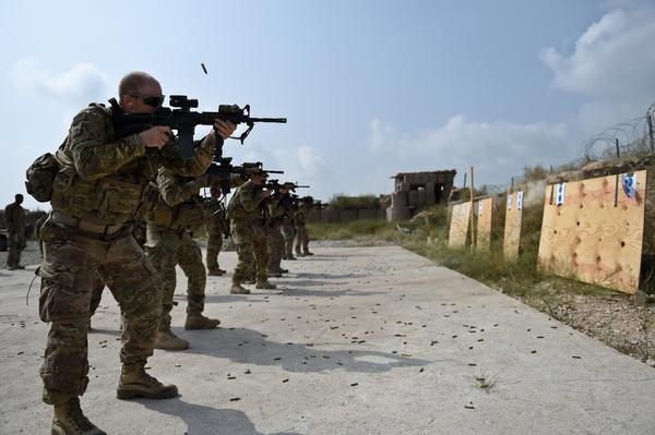 U.S. soldiers take part in a training exercise at Forward Operating Base Connelly in eastern Afghanistan on Aug. 14. The main U.S. mission is to train and advise the Afghan military, but the Americans are also involved in the fighting.