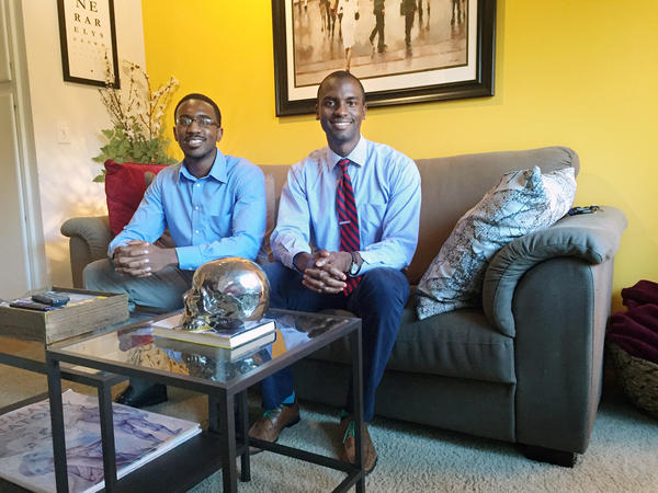 Jeffrey Okonye (left) and Oviea Akpotaire are fourth-year medical students at the University of Texas Southwestern.