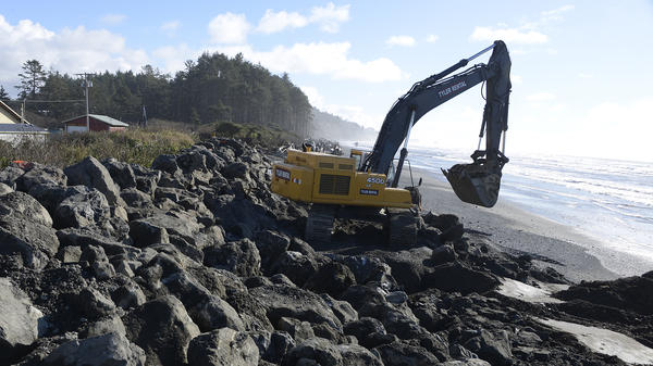 This sea wall protects the Quinault Indian Nation at the mouth of the Quinault River. In March, a state of emergency was declared by the tribe when waves crashed over the wall.