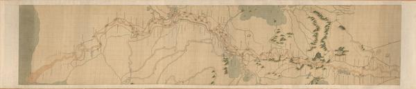This scroll map of China's Yellow River was made around 1750, and shows the river, its environs — and the local tea shops.