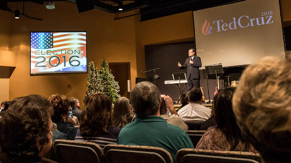 Senator Ted Cruz is a guest during a morning service at Christian Life Assembly of God in Des Moines on Nov. 29, 2015.