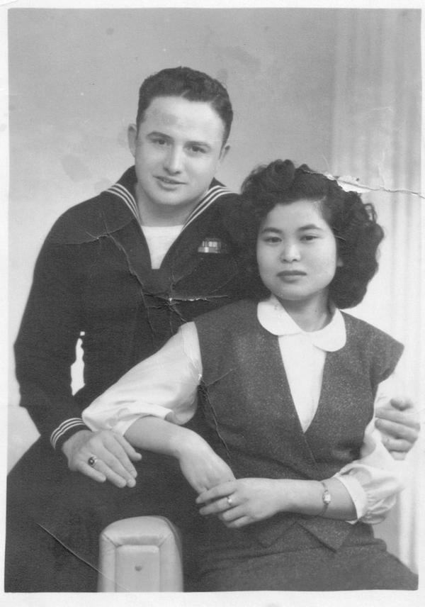 Frank and Kazuko Olinger in Iwakuni, Japan 1956.