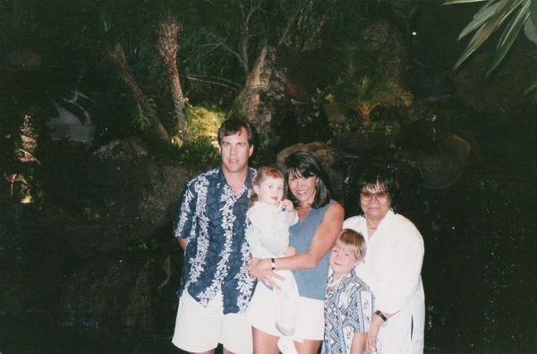 The family visits Oahu in the winter of 1999. From left: Matt McCormick, Sarah McCormick, Shirley Olinger, Sean McCormick and Kazuko [Ozaki] Nishimoto.