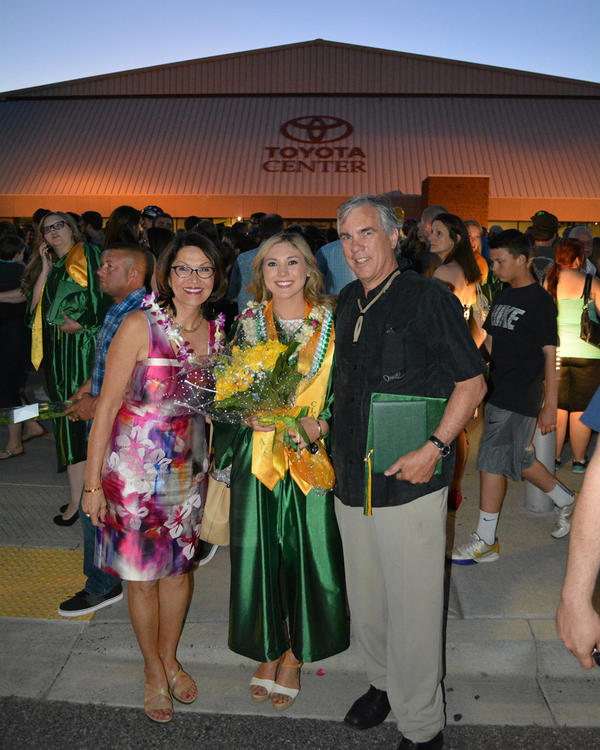 Shirley Olinger with her daughter Sarah McCormick and husband Matt McCormick at Sarah's graduation ceremony in 2015.