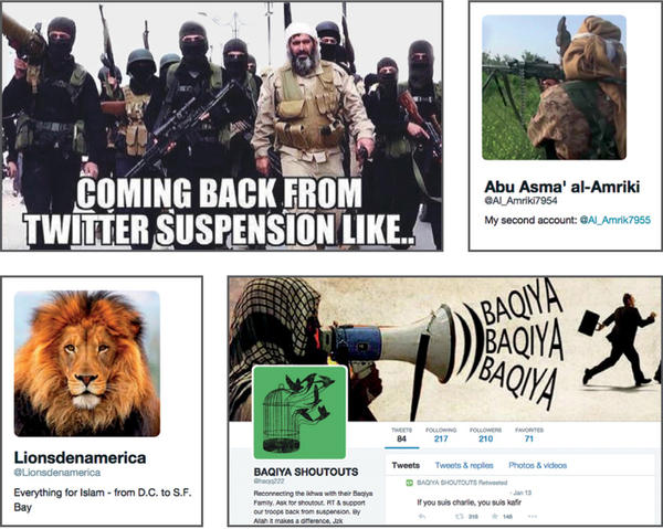 """An image from the report """"ISIS in America: From Retweets to Raqqa"""" shows (clockwise from top) a suspended Twitter user announcing their new account, and examples of other Twitter accounts that help spread extremist information online."""