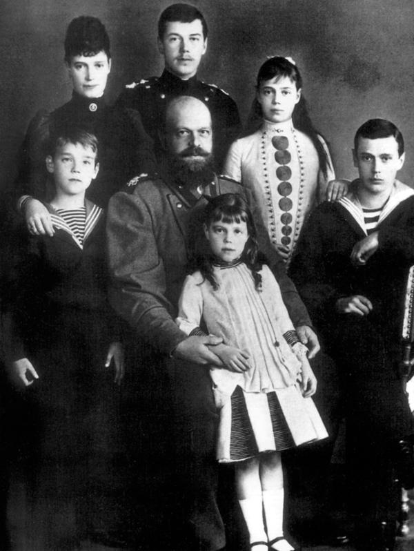 "Czar Alexander III and his wife, Maria Feodorovna, posed for a photo in about 1885 with their children, including Nicholas II, the future czar, standing in back. Alexander went by the title ""Emperor and Autocrat of All the Russias."" His reign was conservative and repressive."
