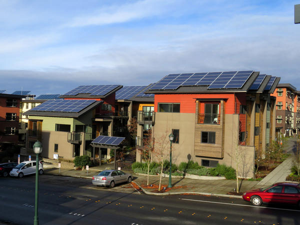 ''Net zero energy'' townhomes in the Issaquah Highlands neighborhood east of Seattle.