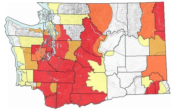 A county-by-county map from Tuesday shows the growing danger of landslides in Washington state.