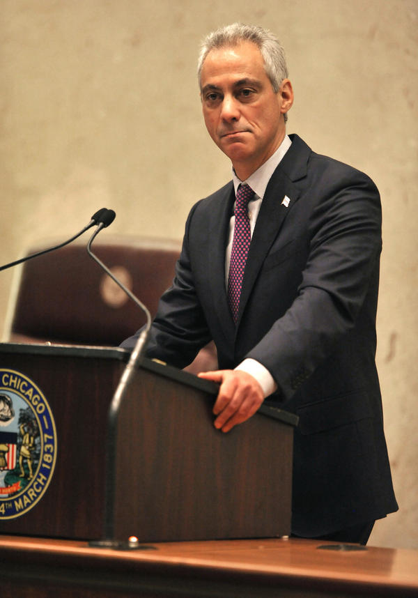 Chicago Mayor Rahm Emanuel speaks during a special City Council meeting Wednesday in Chicago. Emanuel called the meeting to discuss a police abuse scandal and apologized for the 2014 shooting of a black teenager.