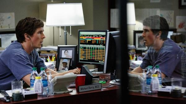 Christian Bale as Michael Burry in a scene from <em>The Big Short</em>.