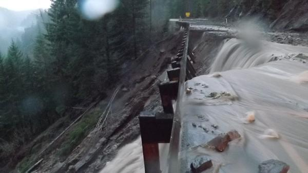 Heavy rains damaged the roadway and caused rockslides along White Pass on U.S. Highway 12 near Mt. Rainier.