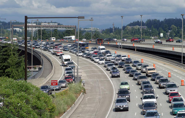 Traffic in Seattle, one of several Northwest cities eligible to apply for the USDOT's Smart City Challenge.