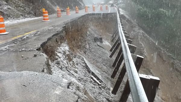 Roadway damage on the west side of US 12 at White Pass