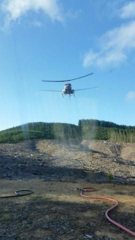 <p>This photograph of a helicopter spraying herbicides is among hundreds whistleblower Darryl Ivy released after a month working for Applebee Aviation driving trucks and handling pesticides on Seneca Jones Timber Company sites.</p>
