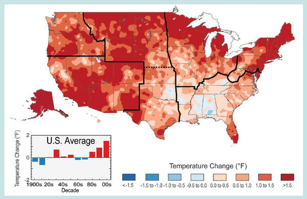 This map from the 2014 National Climate Assessment shows 1991-2012 temperature changes compared to the 1901-1960 average for the contiguous United States. The period from 2001 to 2012 was warmer than any previous decade in every region.