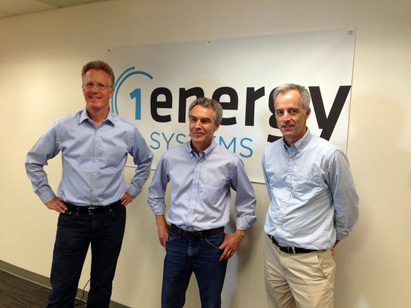 From left to right, Daniel Malarkey, David Kaplan and Rogers Weed pose under a banner for their start-up company 1Energy Systems.