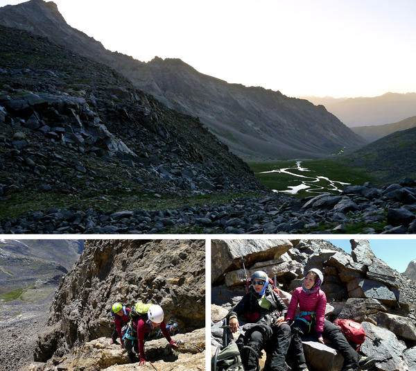"At top, a view from the expedition base camp toward the valley leading away from Mir Samir. At bottom left, Shopirai Otmonkhel, in white helmet, and Zahra Karimi Nooristani climb up an unnamed mountain. At bottom right, Maryam Azizi and Shopirai Otmonkhel are shown on just below the summit of a mountain they decided to call ""Lion Daughters of Mir Samir."""