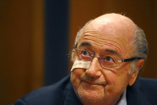 Suspended FIFA President Sepp Blatter attends a news conference in Zurich, Switzerland, on Monday.