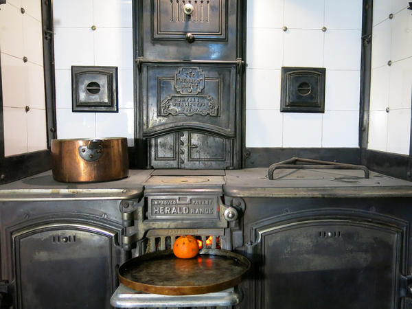 Ivan Day has outfitted his farmhouse with historic appliances, including this coal-fired oven from the 1800s — seen here while a mince pie bakes.