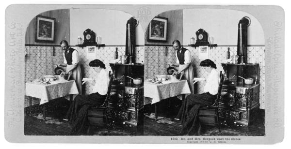 Mr. and Mrs. Henpeck wash the dishes, on stereo card, circa 1903.
