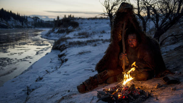 Leonardo DiCaprio, as Hugh Glass, bears the elements in a scene from <em>The Revenant</em>.