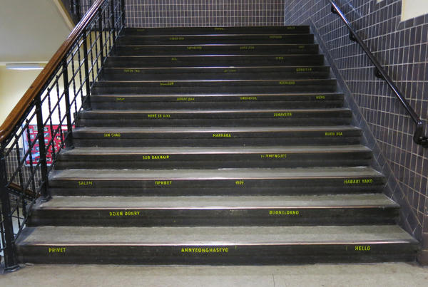 The stairs at Johanna-Eck School in Berlin have been painted with greetings in many different languages.