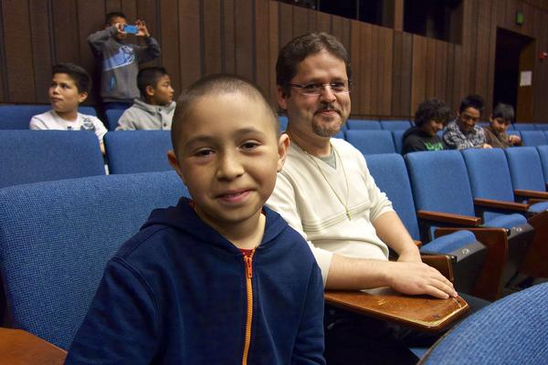 Oscar Ramos (right) took fifth- and sixth-graders, including José Anzaldo (left), to visit the University of California, Berkeley.
