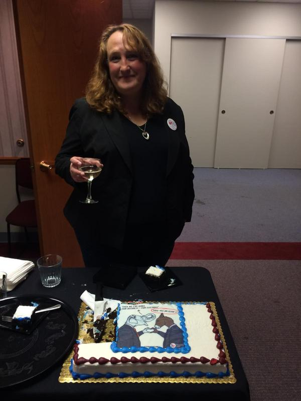 Ohio Common Cause's Catherine Turcer celebrates passage of Issue 1 on Election Night