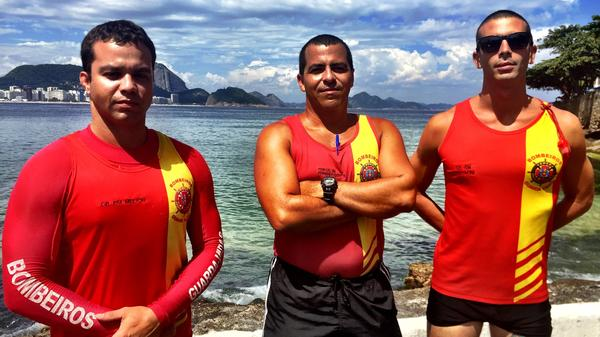 Rio lifeguards Gustavo Melich (from left), Commander Fernando Santos and Maj. Felipe Puell on Copacabana Beach. The lifeguards say they are always busy, but never more so than on New Year's Eve.