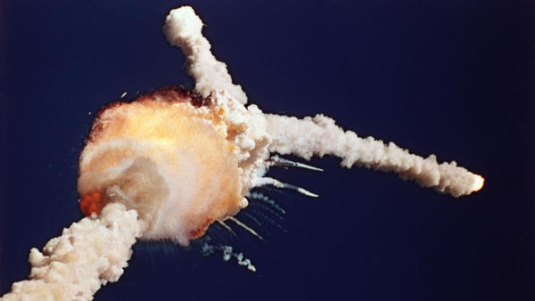 The space shuttle Challenger explodes shortly after lifting off from the Kennedy Space Center in Cape Canaveral, Fla., on Jan. 28, 1986.