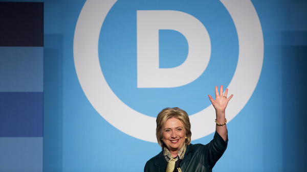 Hillary Clinton appears at a Democratic National Committee event in October. Her joint fundraising committee with the DNC can ask a single donor for 135 times as much money as her campaign alone.