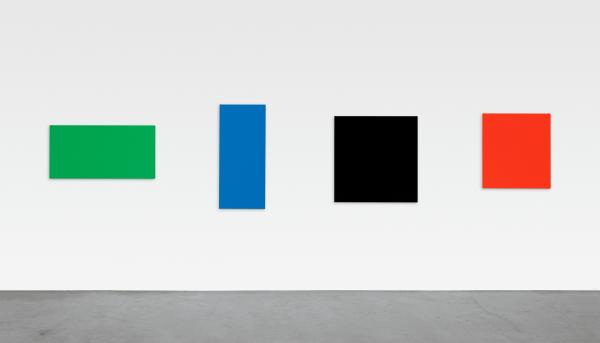In this 2007 Ellsworth Kelly piece, four separate oil-painted canvases combine to form a single work, <em>Green Blue Black Red.</em>
