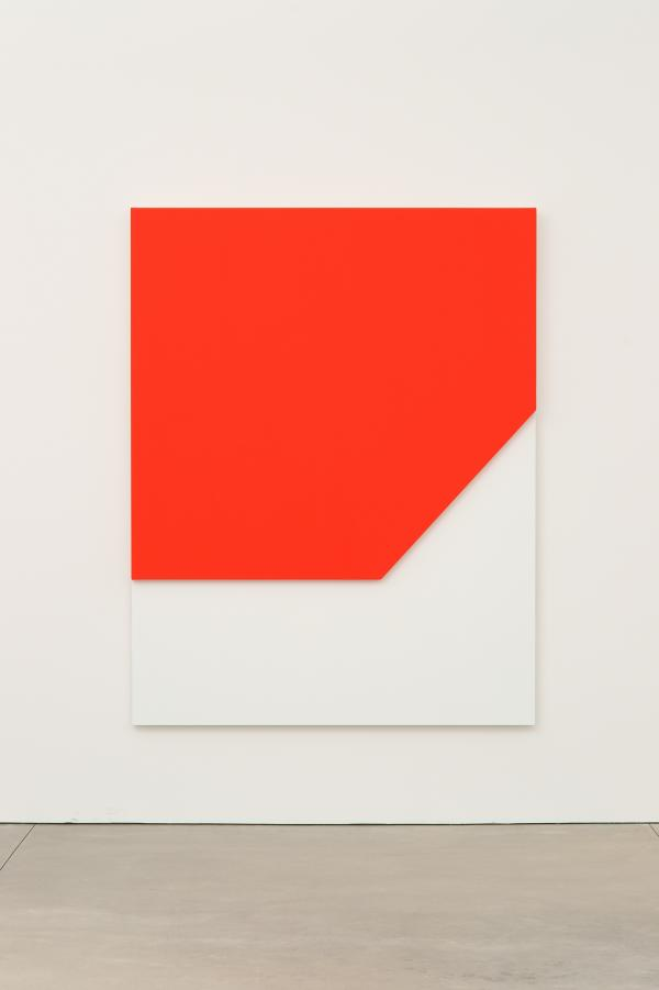 Ellsworth Kelly, <em>Red Relief,</em> 2009. Oil on canvas, two joined panels, 80 x 62 1/2 x 2 5/8 inches. Private collection.