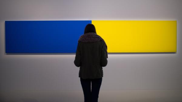 """A visitor looks at the artwork <em>Two Panels — Blue-Yellow </em>(1970) by Ellsworth Kelly as part of the exhibition """"J'aime les panoramas"""" (I love the panoramas) at the Museum of European and Mediterranean Civilisations in Marseille, southern France, on Nov. 2."""