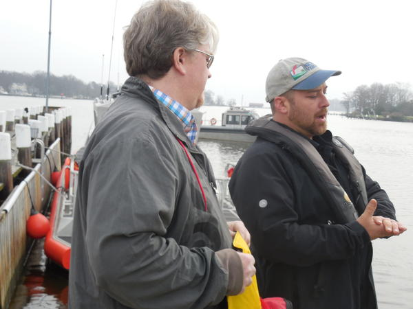 Charlie Frend (left) and Brad Stemcosky talk about their ordeal in the Potomac