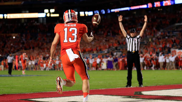 Hunter Renfrow of the Clemson Tigers celebrates scoring a touchdown in the third quarter Thursday against the Oklahoma Sooners during the 2015 Capital One Orange Bowl at Sun Life Stadium in Miami Gardens, Florida.