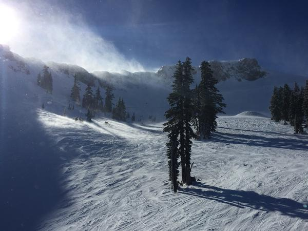 The view while riding up the newly developed Siberia Express chairlift at Squaw Valley, Calif.