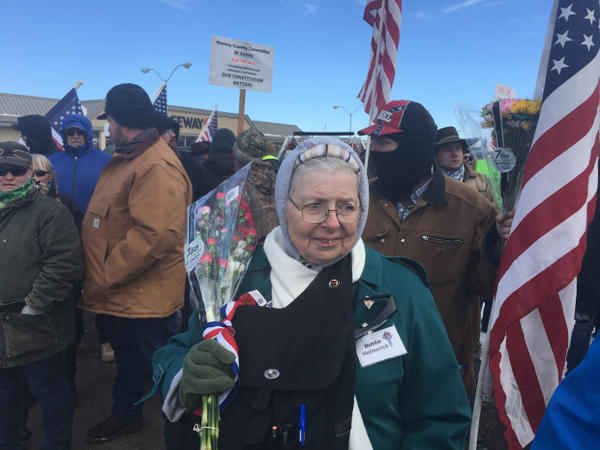 <p>More than 300 people gathered in Burns to march through town, across the packed snow, in protest of the Hammond's five-year sentence.</p>