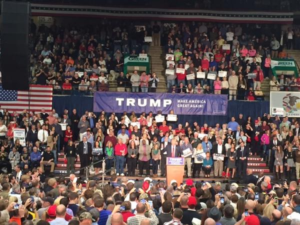 Donald Trump, who is one of a handful of Republicans who turned in petitions early enough that he could nab the top spot on the primary ballot, came to Springfield to campaign over the winter.
