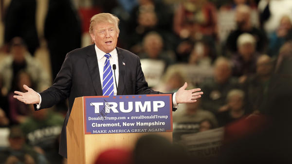 Republican presidential candidate Donald Trump speaks to a crowd at a campaign event Tuesday in Claremont, N.H.