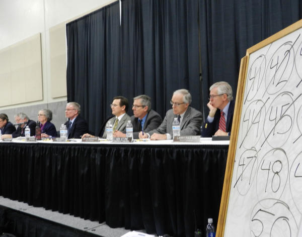 <p>A whiteboard tracked the assigned numbers of each speakers as they were called to testify before the Energy Facility Site Evaluation Council Tuesday.</p>