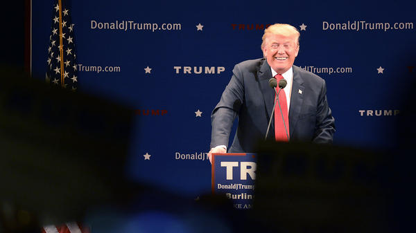 Republican presidential candidate Donald Trump speaking at Thursday's campaign event in Burlington, Vt.