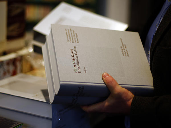 "The new ""critical edition"" of <em>Mein Kampf</em>, shown here in a Munich bookstore on Friday, is the first version of Adolf Hitler's notorious manifesto to be published in Germany since the end of World War II."