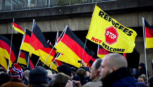 Supporters of Pegida, Hogesa (Hooligans against Salafists) and other right-wing populist groups gather on January 9 in  Cologne to protest against the New Year's Eve attacks.
