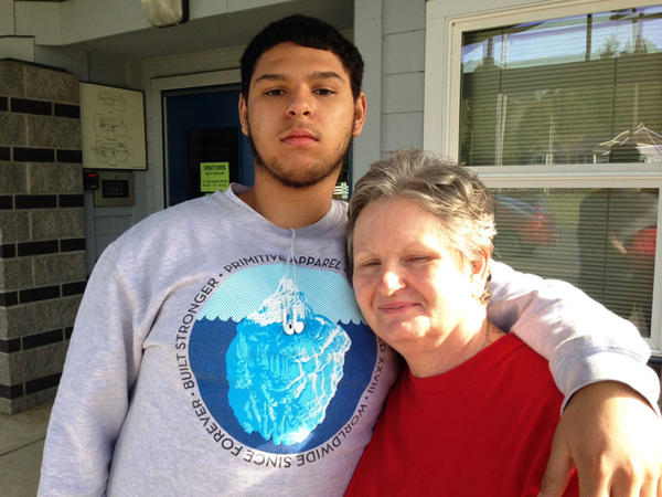 Marquise Flynn and his mom Gail Morehouse stand together outside the elementary school Marquise attended when he was first sent to truancy court in Grays Harbor County.