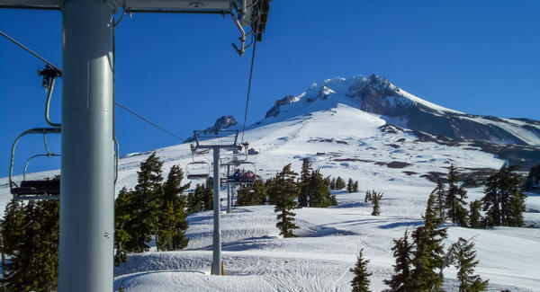 <p>Mount Hood from a ski lift at Timberline Ski Resort.</p>