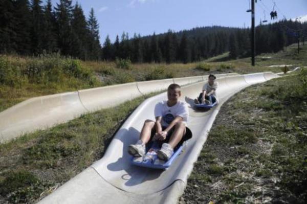 <p>SkiBowl's alpine slide offers summertime fun on the ski slopes.</p>