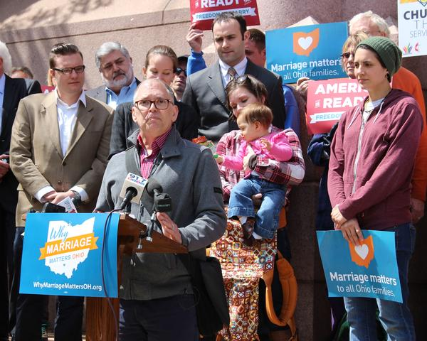 Jim Obergefell talks to a crowd in Cincinnati before heading to Washington D.C. for the Supreme Court hearing.
