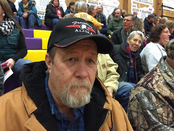 John McLean and more than 300 people showed up for a community meeting in Burns, Oregon, Monday night to discuss the occupation of the Malheur National Wildlife Refuge by an armed group.
